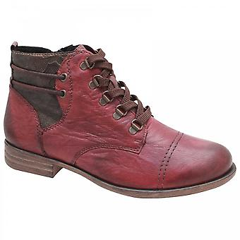 Remonte Textured Red Leather Lace Up Ankle Boot