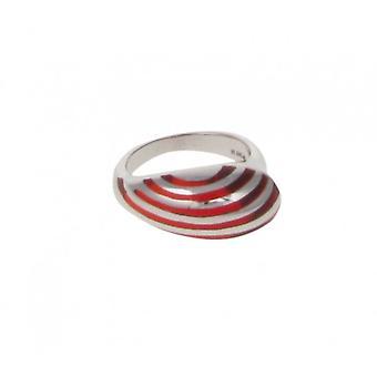 La plata francesa de Cavendish y raya de resina roja lágrima anillo