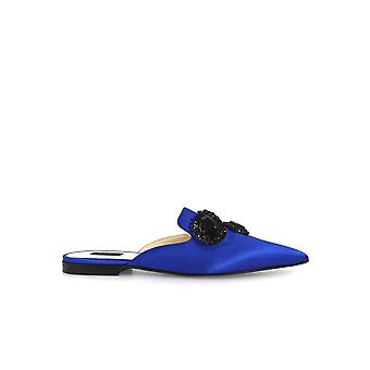 PINKO ARANCIA LIGHT BLUE MULES WITH JEWELS