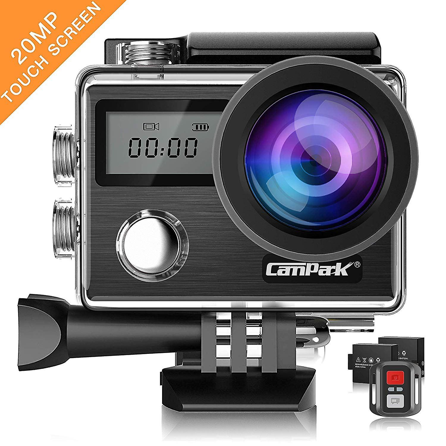 Campark X20 4K 20MP Action Camera with EIS Touch Screen Adjustable View Angle 30M Waterproof