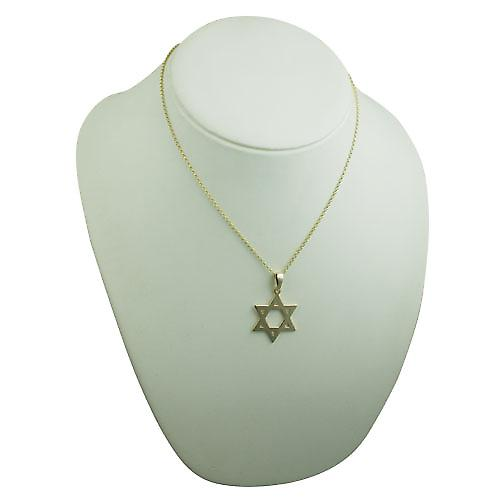 9ct Gold 31x27mm plain Star of David Pendant on a bail with belcher Chain 18 inches