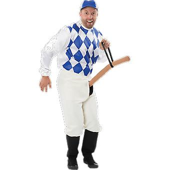 Mens bleu bouton jockey Déguisements Costume Fun rude & Naughty équipe sports