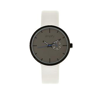 Simplify The 3900 Leather-Band Watch w/ Date - White