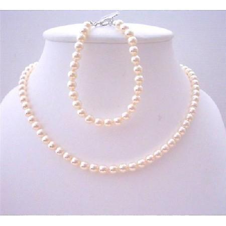 Swarovski Ivory 6mm Pearls Flower Girl Jewelry Necklace & Bracelet