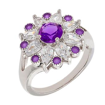 Bertha Juliet Collection Women's 18k WG Plated Purple Floral Statement Fashion Ring Size 9