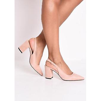 Slingback Suede Court Block Heeled Sandals Pink
