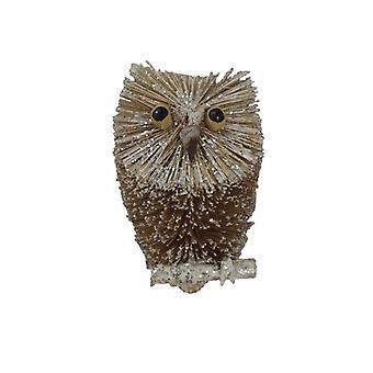 Gisela Graham Bristle Owl Christmas Tree Decoration