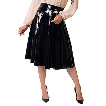 KRISP PVC High Waisted Full Midi Skirt