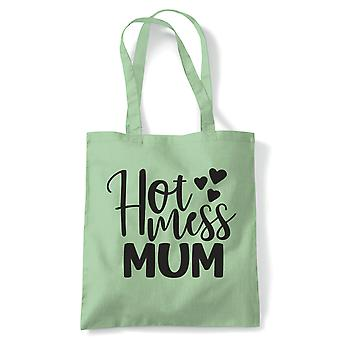 Hot Mess Mum Funny Tote| Reusable Shopping Cotton Canvas Long Handled Natural Shopper Eco-Friendly Fashion | Gym Book Bag Birthday Present Gift Him Her | Multiple Colours Available