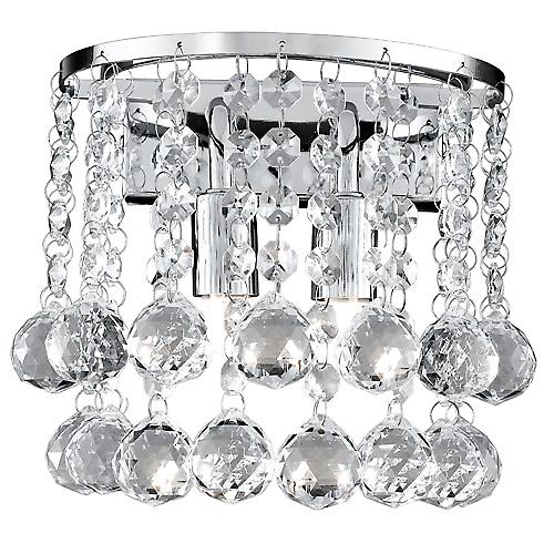 Searchlight 2402-2CC Hanna Chrome Half Round Wall Light With Crystal Ball Drops