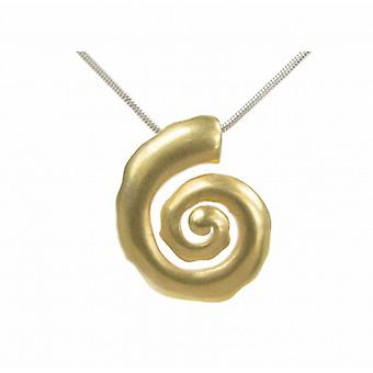 "Cavendish French Silver and gold vermeil spiral pendant with 16 - 18"" Silver Chain"