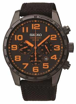 Seiko Mens Black IP Steel Orange Detail Canvas Strap SSC233P9 Watch