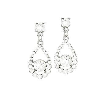 Eternal Collection Romance Clear Crystal Silver Tone Drop Pierced Earrings