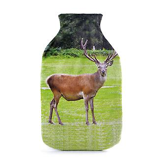 Brushed Velour Stag Photo Print 2L Hot Water Bottle & Cover