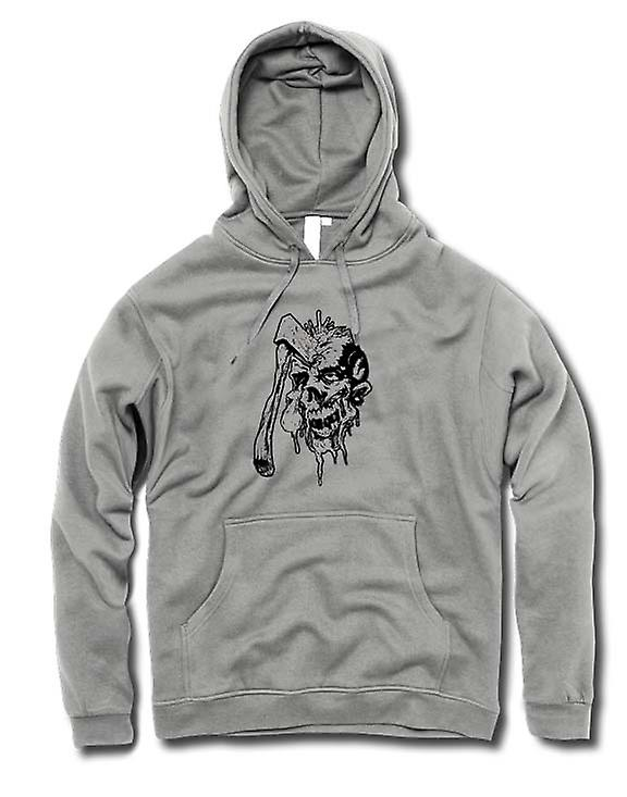 Mens Hoodie - Axé Zombie Skull Black & White Design