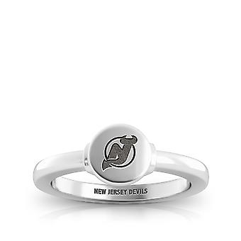 New Jersey Devils Devils Logo Engraved Signet Ring