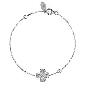 Latelita Sterling Silver Lucky Four Leaf Clover Delicate Bracelet Rose Gold CZ