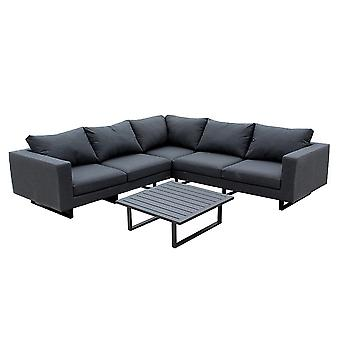 Maze Lounge Ember All Weather Fabric Corner Garden Sofa Set in Charcoal