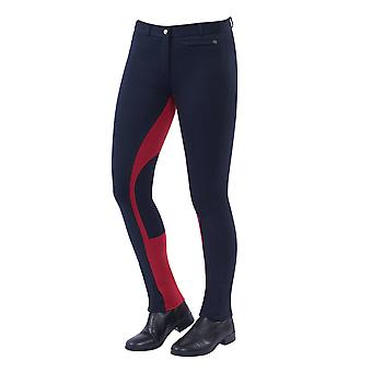 Dublin Supa-fit Childrens Pull On Euro-seat Jodhpurs - Navy/red