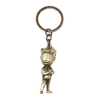 Fallout Keyring Keychain Golden 3D Vault Boy new Official Gold Metal