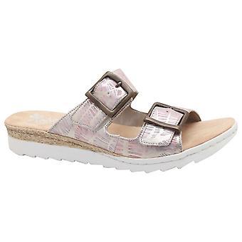 Rieker Multi Double Strap Slide On Sandal With Buckle