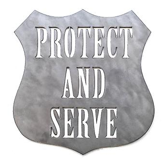Protect and serve - metal cut sign 15x15in