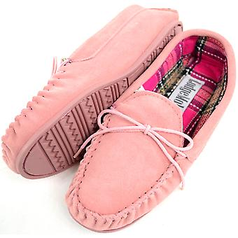 Ladies / Womens Traditional Genuine Suede Leather Moccasin / Slippers with Rubber Sole - Pink - UK 6