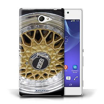STUFF4 Case/Cover for Sony Xperia M2/Gold/Chrome/Alloy Wheels