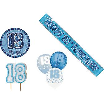 18th BIRTHDAY GLITZ DESIGN BLUE & SILVER PARTY PACK BALLOON BANNER CANDLE BADGE