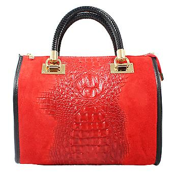CTM Woman handbag shoulder bag leather animal pattern, made in Italy