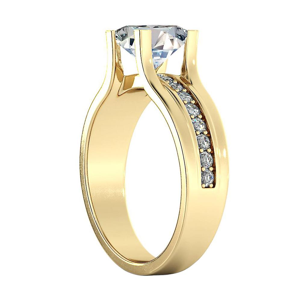1.4 Carat H VS1 Diamond Engagement Ring 14K Yellow Gold Solitaire w Accents Bridge Channel set