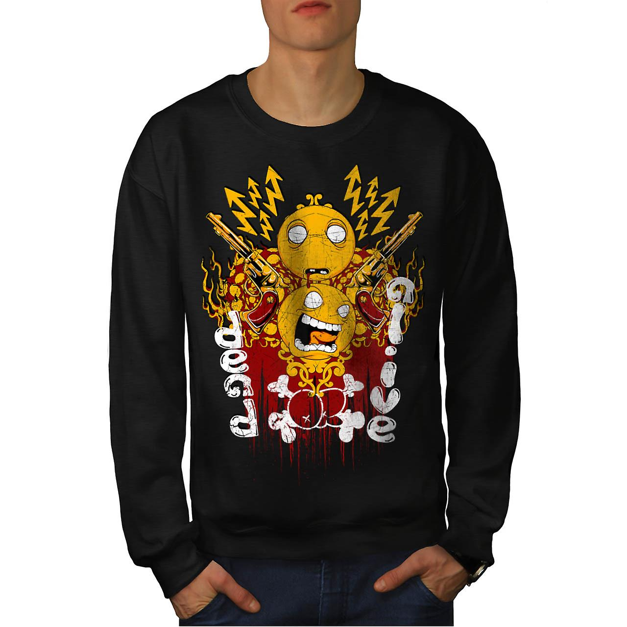 Dead Or Alive Face Smiley Gun Men Black Sweatshirt | Wellcoda