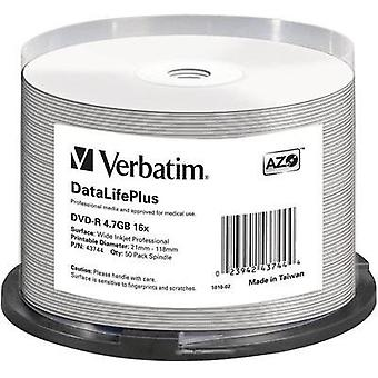 Blank DVD-R 4.7 GB Verbatim 43744 50 pc(s) Spindle Printable