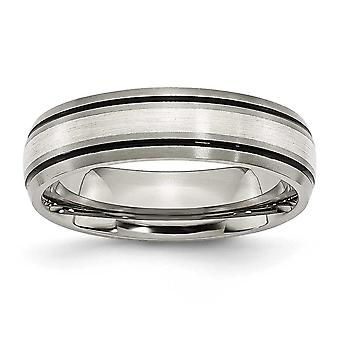 Titanium Sterling Silver Inlay 6mm Brush/Antique Band - Ring Size: 6 to 13
