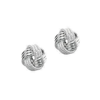 14k White Gold Shiny Textured 3 Row Love Knot Earrings - 1.3 Grams