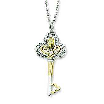 Sterling Silver and Gold-plated Nov. CZ Key 18inch Necklace