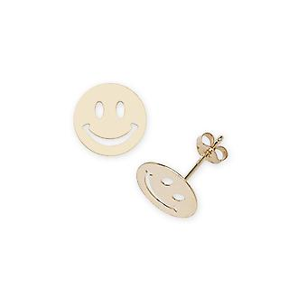14k Yellow Gold Smilie Stamping Children Earrings - Measures 9x9mm