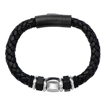 Braided black men's leather bracelet with beads