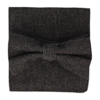 Snobbop set-bound bow tie & handkerchief black of denim jeans look cotton
