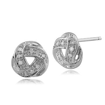 9ct White Gold Diamond Love Knot Stud Earrings