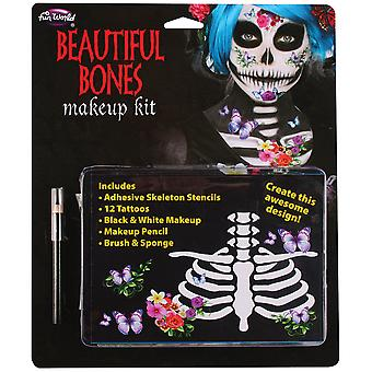 Palmer Agencies Beautiful Bones Makeup Kit Tattoo Day Of The Dead Halloween