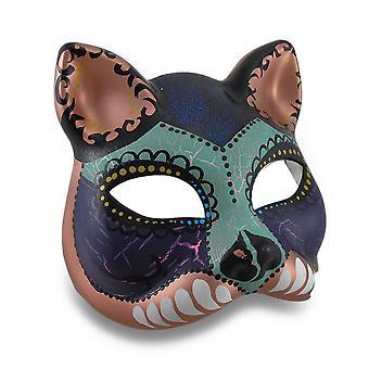 Máscara de la mascarada del estilo de gato colorido Carnaval de media cara