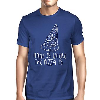 Home Where Pizza Is Unisex Royal Blue Tops Graphic Printed T-shirt