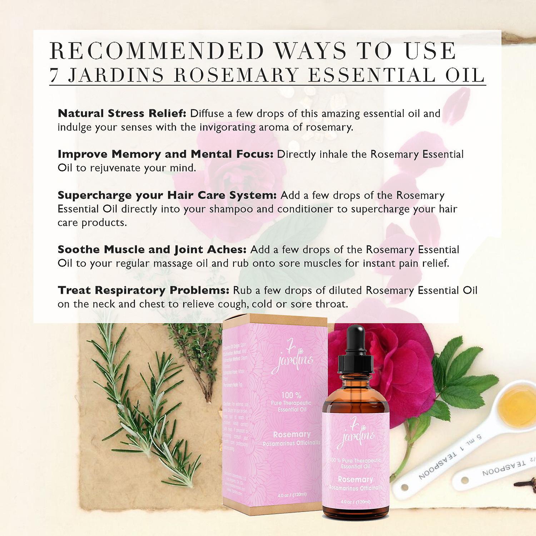 7 Jardins Premium 100 % reine & natürlichen therapeutischen Klasse ätherisches Rosmarinöl. 120 ml - Rosmarinus Officinalis - Aromatherapie, Haarpflege, verbessert Gedächtnis & geistige Klarheit für Männer & Frauen