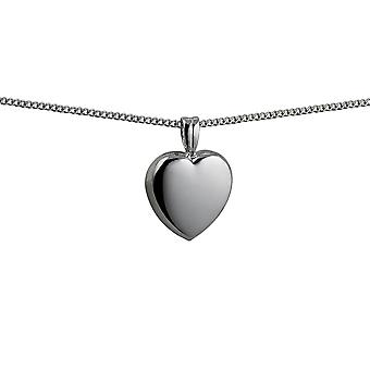 Silver 17x18mm domed Heart shaped Pendant with a curb Chain 24 inches