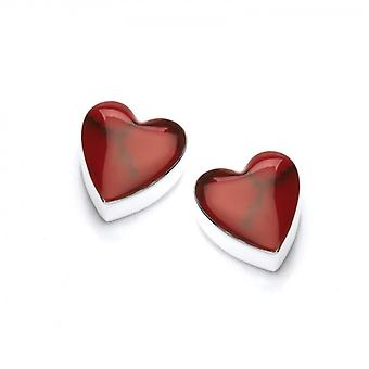 Cavendish French Sterling Silver and Formed Red Jasper Heart Stud Earrings