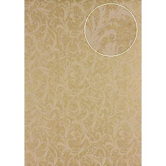 Baroque wallpaper Atlas PRI-523-2 non-woven wallpaper smooth with floral ornaments shimmering bronze perl-beige olive yellow 5.33 m2