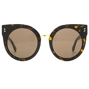 Stella McCartney Essentials Peaked Round Sunglasses In Havana