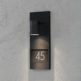 Konstsmide Modena Black LED House Number Wall Light