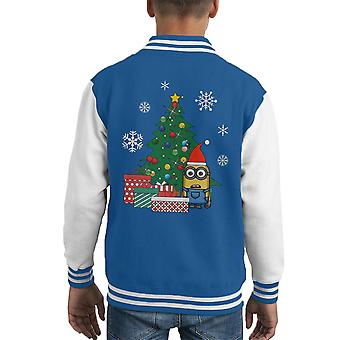 Minion Gifts Under The Christmas Tree Kid's Varsity Jacket